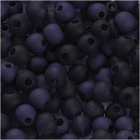 Kunststoffperlen, D: 6 mm, Lochgröße 2 mm, Blau, 40 g/ 1 Pck