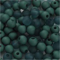Kunststoffperlen, D: 6 mm, Lochgröße 2 mm, Flaschengrün, 40 g/ 1 Pck
