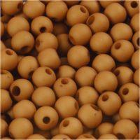 Kunststoffperlen, D: 6 mm, Lochgröße 2 mm, Braun, 40 g/ 1 Pck
