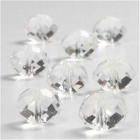 Kristallglasperlen, flach, rund, Größe 12x14 mm, Lochgröße 1 mm, Glänzend transparent, 20 Stk/ 1 Pck