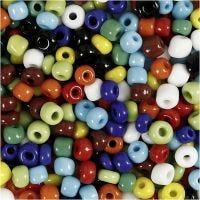Rocaille Seed Beads, D: 4 mm, Größe 6/0 , Lochgröße 0,9-1,2 mm, Sortierte Farben, 1000 g/ 1 Dose