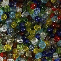 Rocaille Seed Beads, D: 4 mm, Größe 6/0 , Lochgröße 0,9-1,2 mm, Glänzend transparent, 1000 g/ 1 Pck