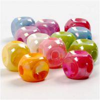 Würfel-Perlen, Mix, Größe 10x10 mm, Lochgröße 4 mm, 125 ml/ 1 Pck, 60 g