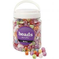 Würfel-Perlen, Mix, Größe 10x10 mm, Lochgröße 4 mm, Sortierte Farben, 700 ml/ 1 Dose, 400 g