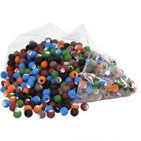 Acrylperlen - Sortiment, Größe 8x10 mm, Lochgröße 5 mm, Sortierte Farben, 300 g/ 1 Pck