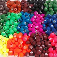 Acrylperlen, Größe 8x10 mm, Lochgröße 5 mm, Sortierte Farben, 20x21 g/ 1 Pck