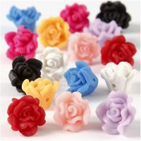 Rosen aus Ton, D: 16x10 mm, Lochgröße 0,5 mm, Sortierte Farben, 16 sort./ 1 Strg.