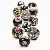 Kashmiri-Perlen, D: 20-17 mm, Lochgröße 4,5 mm, Schwarz, 12 sort./ 1 Pck