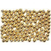Wachsperlen, D: 2,7 mm, Lochgröße 0,7 mm, Gold, 150 Stk/ 1 Pck