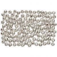Wachsperlen, D: 3 mm, Lochgröße 0,7 mm, Silber, 150 Stk/ 1 Pck