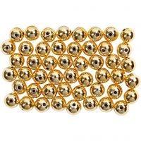 Wachsperlen, D: 5 mm, Lochgröße 0,7 mm, Gold, 100 Stk/ 1 Pck