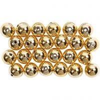 Wachsperlen, D: 8 mm, Lochgröße 1 mm, Gold, 50 Stk/ 1 Pck