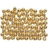 Wachsperlen, D: 4 mm, Lochgröße 0,7 mm, Gold, 150 Stk/ 1 Pck