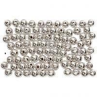 Wachsperlen, D: 4 mm, Lochgröße 0,7 mm, Silber, 150 Stk/ 1 Pck