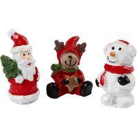 Miniatur-Figuren, Nikolaus, Rentier, Schneemann, H: 35 mm, L: 10 mm, 3 Stk/ 1 Pck