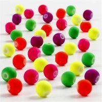 Neonperlen, D: 6 mm, Lochgröße 1,2 mm, 50 g/ 1 Pck