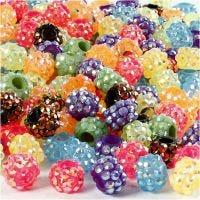 Strass-Perlen - Sortiment, Größe 9x13 mm, Lochgröße 5 mm, Inhalt kann variieren , Sortierte Farben, 300 Stk/ 1 Pck