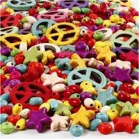 Howlith-Perlen, Größe 4-25 mm, Lochgröße 1,5 mm, Inhalt kann variieren , Kräftige Farben, 840 Stk/ 1 Pck