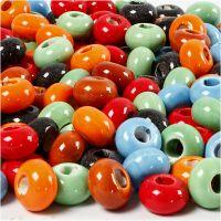 Keramikperlen, D: 15 mm, Lochgröße 5,5 mm, Inhalt kann variieren , Sortierte Farben, 300 Stk/ 1 Pck
