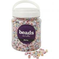 Perlen mit Buchstaben, Größe 6x6 mm, Lochgröße 3 mm, 700 ml/ 1 Dose, 500 g
