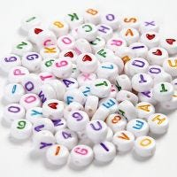 Buchstaben-Perlen, Größe 7 mm, Lochgröße 1,2 mm, Weiß, 25 g/ 1 Pck