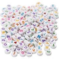 Buchstaben-Perlen, Größe 7 mm, Lochgröße 1,2 mm, Weiß, 200 g/ 1 Pck