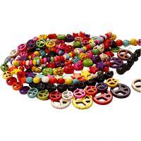 Howlith-Perlen, D: 12-15 mm, Lochgröße 1,5 mm, Schwarz, Kräftige Farben, 8 Strg./ 1 Pck