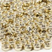 Buchstaben-Perlen, D: 7 mm, Lochgröße 1,2 mm, Gold, 21 g/ 1 Pck
