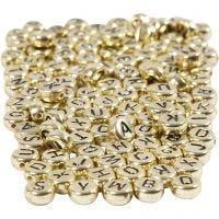 Buchstaben-Perlen, D: 7 mm, Lochgröße 1,2 mm, Gold, 165 g/ 1 Pck