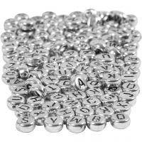 Buchstaben-Perlen, D: 7 mm, Lochgröße 1,2 mm, Silber, 165 g/ 1 Pck