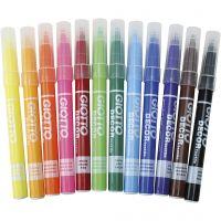 GIOTTO Stoffmalstifte, Strichstärke 4 mm, Sortierte Farben, 12 Stk/ 1 Pck
