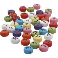 Runde Buchstabenperlen, D: 7 mm, Lochgröße 1-2 mm, Sortierte Farben, 25 g/ 1 Pck
