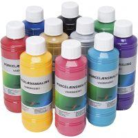 Glas-/Porzellanfarbe, Sortierte Farben, 10x250 ml/ 1 Pck