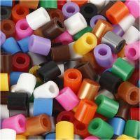 Nabbi Fuse Beads mit Schlitz, Größe 5x5 mm, Lochgröße 2,5 mm, medium, Standard-Farben, 6000 sort./ 1 Pck