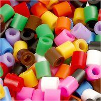 Bügelperlen, Größe 5x5 mm, Lochgröße 2,5 mm, medium, Standard-Farben, 6000 sort./ 1 Pck