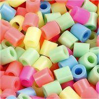 Bügelperlen, Größe 5x5 mm, Lochgröße 2,5 mm, medium, Pastellfarben, 6000 sort./ 1 Pck
