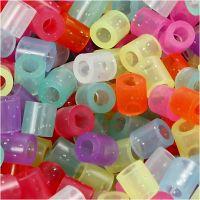 Bügelperlen, Größe 5x5 mm, Lochgröße 2,5 mm, medium, Glitter-Farben, 6000 sort./ 1 Pck