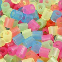 Bügelperlen, Größe 5x5 mm, Lochgröße 2,5 mm, medium, Neonfarben, 6000 sort./ 1 Pck
