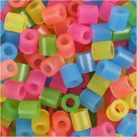 Bügelperlen, Größe 5x5 mm, Lochgröße 2,5 mm, medium, Neonfarben, 1100 sort./ 1 Pck
