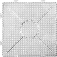 Steckplatte, Großes Quadrat, Größe 15x15 cm, Transparent, 2 Stk/ 1 Pck