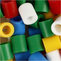 Bügelperlen, Größe 10x10 mm, Lochgröße 5,5 mm, JUMBO, Standard-Farben, 1000 sort./ 1 Pck