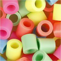 Bügelperlen, Größe 10x10 mm, Lochgröße 5,5 mm, JUMBO, Pastellfarben, 1000 sort./ 1 Pck