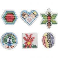 Steckbrett, Geometrische Figuren, Größe 7x7,5-10,5x9,5 cm, 6 Stk/ 1 Pck