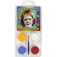 Eulenspiegel Gesichtsschminke - Motivset, Clown, Sortierte Farben, 1 Set