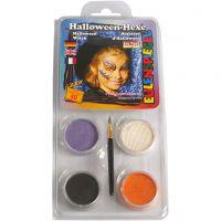 Eulenspiegel Gesichtsschminke - Motivset, Halloween-Hexe, Sortierte Farben, 1 Set