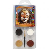 Eulenspiegel Gesichtsschminke - Motivset, Löwe, Sortierte Farben, 1 Set