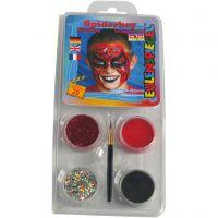 Eulenspiegel Gesichtsschminke - Motivset, Spiderman, Sortierte Farben, 1 Set