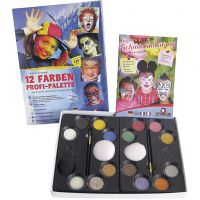 Wasserschminke-Set mit Schritt-für-Schritt-Anleitung, Sortierte Farben, 1 Set