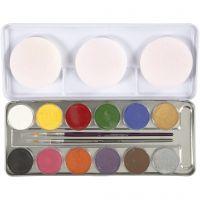 Eulenspiegel Gesichtsschminke, Sortierte Farben, 12 Farbe/ 1 Set