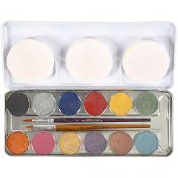 Eulenspiegel Gesichtsschminke, Perlmuttfarben, 12 Farbe/ 1 Set